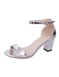 Damen Sandalen Komfort PU Frühling Komfort Blockabsatz Gold Silber 7,5 - 9,5 cm