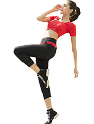 Yoga Pants Pants/Trousers/Overtrousers Bottoms Breathable High Breathability (>15,001g) Comfortable Natural Stretchy Sports Wear Red Black