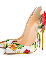 Women's Heels Spring Summer Fall Comfort Novelty Leather Wedding Party & Evening Dress Stiletto Heel Flower Walking