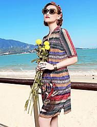 Linea A Vestito Da donna-Casual Ufficio Vacanze Sofisticato Con stampe Rotonda Al ginocchio Manica corta Seta Primavera EstateA vita