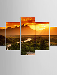 cheap -Giclee Print Landscape Classic Modern,Five Panels Canvas Any Shape Print Wall Decor For Home Decoration