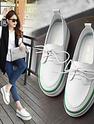 preiswerte -Damen Schuhe Leder Komfort Loafers & Slip-Ons Creepers für Schwarz / Grün