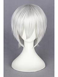 billiga -Syntetiska peruker / Kostymperuker Rak Syntetiskt hår Vit Peruk Dam Korta Utan lock Silver