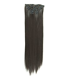 cheap -Synthetic Hair 58cm 130g with Clips 16 Clip in Hair Extensions False Hair Hairpieces Synthetic 23inch Long Straight Apply HairpieceD1014 2#