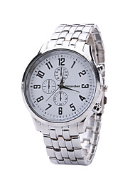 Men's Dress Watch Quartz Alloy Band Casual Silver White Black Blue