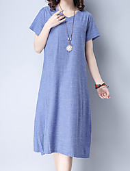Women's Going out Casual/Daily Work Simple Cute Chinoiserie Loose Dress,Solid Round Neck Midi Short Sleeve Cotton Linen Summer Mid Rise
