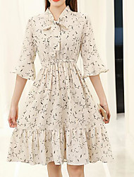 Sign spring new small fresh floral chiffon dress trumpet sleeve dress waist Korean version