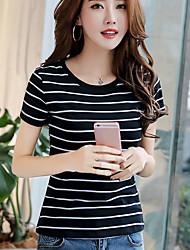 Han mold real shot 2017 summer new Korean fashion Slim round neck striped short-sleeved t-shirt women