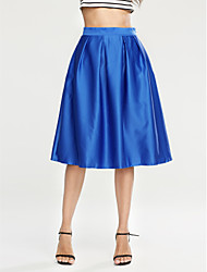Women's Casual/Daily Midi Skirts,Street chic A Line Pleated Solid Fall