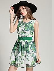 tiro real na Europa e América do verão nova plissado saia de cintura sub vestido assentamento floral