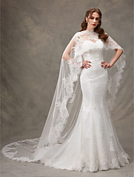 cheap -Mermaid / Trumpet Sweetheart Sweep / Brush Train Lace Wedding Dress with Lace Draped by LAN TING BRIDE®