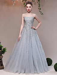 Ball Gown Sweetheart Floor Length Tulle Sequined Formal Evening Dress with Crystal Detailing Sequins Bandage by QZ