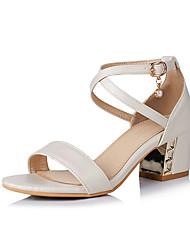 preiswerte -Damen-Sandalen-Kleid Lässig-Kunstleder-Blockabsatz-Komfort-Weiß Beige Blau Rosa
