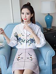 Sign 2017 summer new Korean short-sleeved shirt embroidered 3D stereoscopic technology students wild flowers shirt