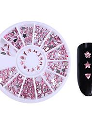 1 Box Pink Flat Bottom Nail Rhinestones Star Heart Teardrop Bowknot Flower Acrylic 3D Nail Art Decorations Nail Accessories