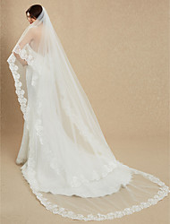 cheap -One-tier Lace Applique Edge Wedding Veil Cathedral Veils 53 Embroidery 181.1 in (460cm) Lace Tulle