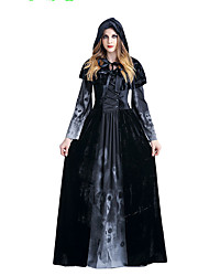 cheap -Victorian Rococo Female One Piece Dress Black Cosplay Lace Cotton Long Sleeves Floor Length