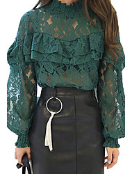 Women's Work Party Vintage Sophisticated All Seasons Blouse,Solid Stand Long Sleeve Rayon