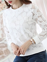 Women's Going out Casual/Daily Work Simple Cute Blouse,Embroidered Round Neck Long Sleeve Polyester