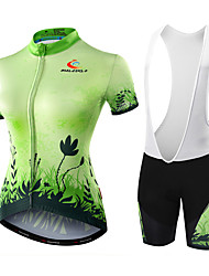 Malciklo Cycling Jersey with Bib Shorts Women's Short Sleeves Bike Shorts Jersey Padded Shorts/Chamois Bib Tights Quick Dry Anatomic