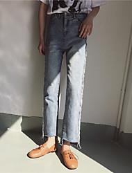 Sign spring new side fringe washed denim trousers straight jeans female high waist irregular Nett