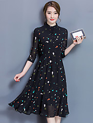 cheap -Women's Wedding Dailywear Date Vacation Birthday Party Bachelor's Party Vintage A Line Dress,Dots Round Neck Mid-Calf Long Sleeves Chiffon