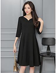 2017 nouvelles femmes printemps&# 39; robe mis sur une grande élégante hepburn petite robe noire robe col noir réunion annuelle