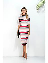 Damen A-Linie Kleid-Alltag Strasse Klub Sexy Retro Stripes / Ripples Rundhalsausschnitt Midi Halbe Ärmel N / A Sommer Mittlere Hüfthöhe
