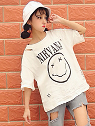 vero e proprio colpo di Harajuku street style personalità bf grande le cencioso buco mendicante faccina t-shirt