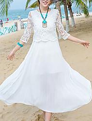 Dámské Jednoduché Plážové Swing Šaty Jednobarevné,Tříčtvrteční rukáv Kulatý Midi Bavlna Léto Mid Rise Neelastické Střední