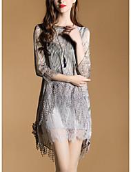 2017 весна новые девять пунктов рукав элегантные кружева бахромой юбка нерегулярные печати платье