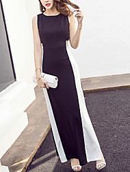 Europa verão novo hit cor sexy elegante preto e branco orvalho cintura saia fenda lateral era vestido retro fino