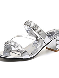 cheap -Women's Shoes PU Spring Comfort Sandals Chunky Heel Block Heel for Outdoor Gold Silver