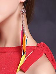 abordables -Danza del Vientre Auriculares Con Micrófono Mujer Representación Plumas Metal 2 Piezas Tocados