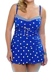 cheap -Women's Polka Dot Dot Bandeau Tankini Swimwear,Polyester Blue Black