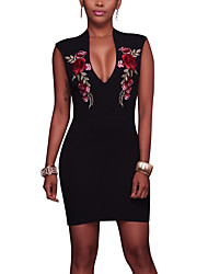 Women's Embroidery Going out Club Sexy Vintage Bodycon DressFloral Embroidered Grace Slim Deep V Above Knee Sleeveless Spring Summer High Rise