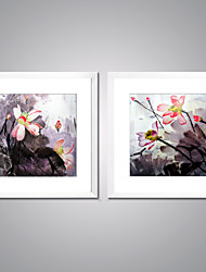 Framed Canvas Print Abstract Floral/Botanical Modern,Two Panels Canvas Square Print Wall Decor For Home Decoration