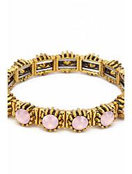 Femme Bracelets de rive Plaqué or Opale Alliage Naturel Mode Forme Ronde Blanc Vert Rose Bijoux 1pc