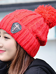 Women Solid Color Icon Printing Knit Stretch Crimping Wool Outdoor Protect Ear Skiing Warm Hat