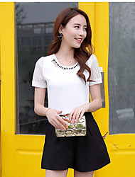 Real shot summer 2016 new short-sleeved chiffon shirt blouse Korean Fan temperament ladies white chiffon shirt