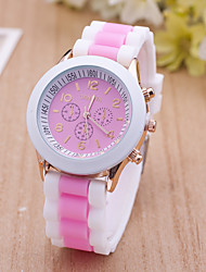 cheap -Women's Sport Watch Dress Watch Fashion Watch Wrist watch Large Dial Quartz Silicone Band Charm Multi-Colored