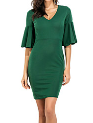 Women's Formal Party/Cocktail Simple Sheath Dress,Solid V Neck Knee-length Above Knee ½ Length Sleeve Polyester All Seasons Low Rise