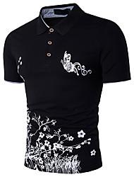 Недорогие -Муж. С принтом Polo Хлопок, Рубашечный воротник Уличный стиль / Изысканный / С короткими рукавами