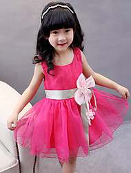 cheap -Girl's Daily Going out Holiday Solid Dress,Spandex Summer Sleeveless Bow Green Blushing Pink Purple Yellow Fuchsia