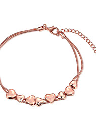 baratos -Mulheres Para Meninas Cristal Rosa Folheado a Ouro Coração Pulseiras em Correntes e Ligações - Vintage Amizade Fashion Ouro Rose Pulseiras