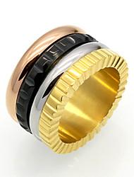 cheap -Men's Women's Ring Personalized Geometric Circular Vintage Circle Euramerican Hip-Hop Fashion Double-layer Rock Punk Titanium Steel Circle