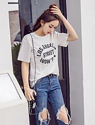 Sinal 2017 primavera novo fã coreano estilo minimalista lavado de algodão em torno do pescoço t-shirt impressão letras padrão blusas