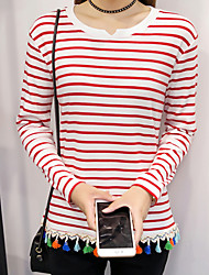 Sign stripe Spring and Autumn new V-neck long-sleeved knit T-shirt student Korean version bottoming shirt female loose