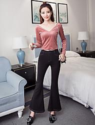 le foto: 2017 nuovi ultra-confortevole gambe tratto in maglia nera artefatto pantaloni svasati marea femminile