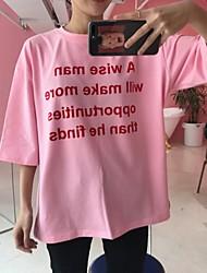lettere rosa cotone a maniche corte donne della maglietta 2017 nuovo Corea ulzzang